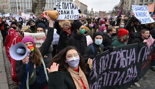 Ukrainian women march against domestic abuse